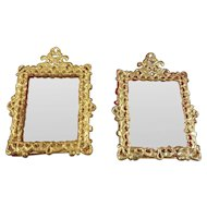 Doll House Gilt Metal Mirror and Picture