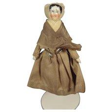 """Tiny China Head Doll with Bonnet 3 1/4"""""""