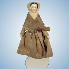 "Tiny 3 1/4""  China Head Doll dressed as Quaker"