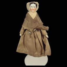 SALE Tiny China Head Doll with Bonnet 3 1/4""