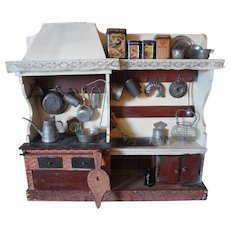 SALE Very Early Kitchen with Chimney Hood Loaded with Tin and Utensils