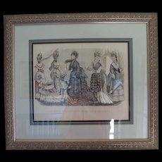 Framed Godey Fashion Print April 1875