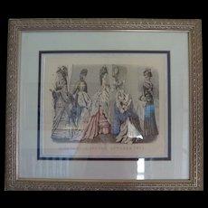 Framed Godey Fashion Print October 1875