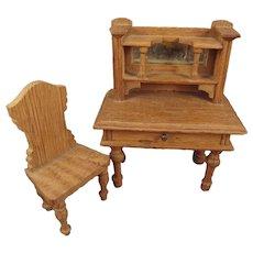 SALE German Oak Doll House Desk and Chair