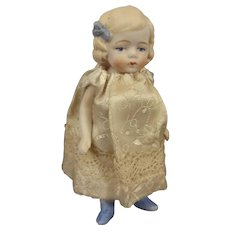 """Sweet 3 1/2"""" All Bisque Doll with Blue Bow and Shoes"""