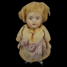"""4 1/2"""" All Bisque Doll Articulated Blonde Mohair Wig"""