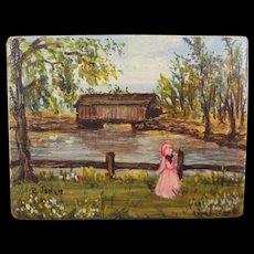 Miniature Pastoral Painting on Wood