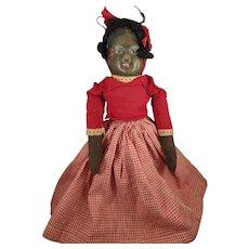 SALE Cloth Topsy Turvy Bruckner Doll in Red Gingham Dress