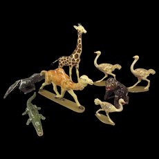 Group of Painted Miniature Metal Animals