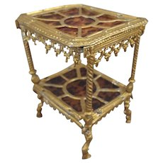 SALE Gilt Metal Table with Faux Tortoise Shell inserts for Doll House - Red Tag Sale Item
