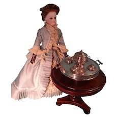 SALE Outstanding Miniature Sterling Dinner Service in Lazy Susan for Fashion Doll