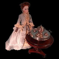 Outstanding Miniature Sterling Dinner Service in Lazy Susan for Fashion Doll