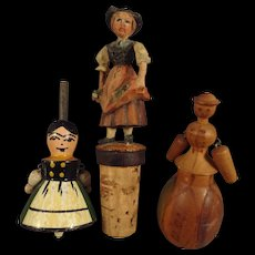 Group of Three Woodens - Top, Corkscrew, Figure