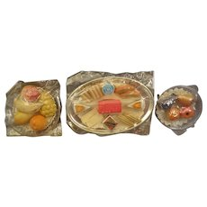 Group of Three Platters of Doll House Food Pastries Food Cheese