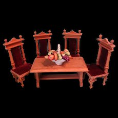 German Oak Doll House Table and Chairs