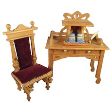 Doll House German Oak Desk and Chair Upholstered
