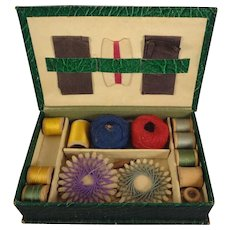 SALE Child's Vintage Sewing Box with Contents