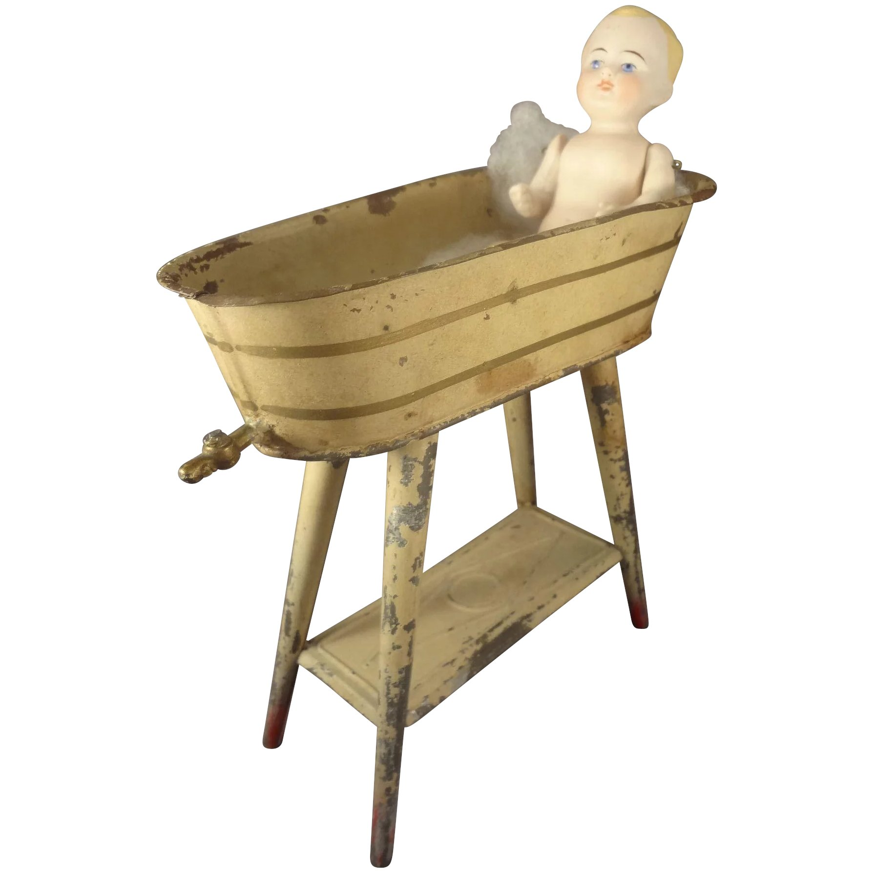 German Tin Painted Bath Tub on Stand for Small Dolls : Jackie ...