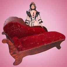 Wonderful Doll's Chaise with Burgundy Velvet Upholstery
