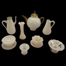 Lovely Group of Bristol Glass Milk Glass in Miniature