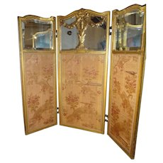 SALE  Fabulous Miniature Three Panel Miniature Screen Mirrored and Upholstered LAYAWAY AVAILABLE