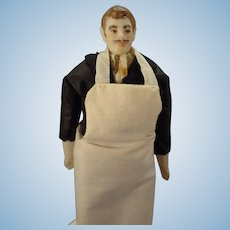 Doll House Chef or Waiter with Moustache and Molded Hair by Phyllis Parks