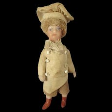 """French All Bisque Antique Lilliputien Chef 2 1/2"""" tall"""