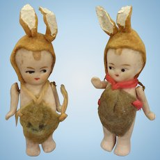 Pair of All Bisque Dolls Dressed as Bunnies