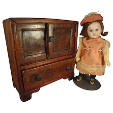"""6 1/2"""" Bisque Doll with Glass Eyes Swivel Head"""