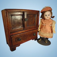 """SALE  6 1/2"""" Bisque Doll with Glass Eyes Swivel Head"""