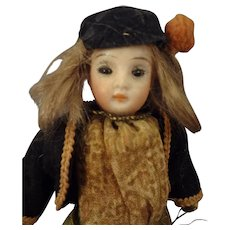 "SALE  5"" Bisque Doll with Glass Eyes for the French Market"