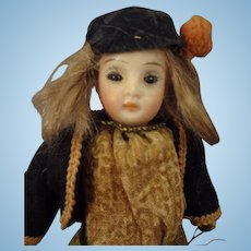"""SALE  5"""" Bisque Doll with Glass Eyes for the French Market"""