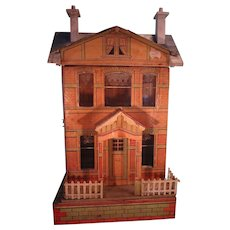 SALE  Blue Roof Doll House with Lithography Original Papers