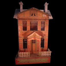 Blue Roof Doll House with Lithography Original Papers