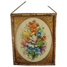 Gilt Metal Framed Floral Picture for Doll House