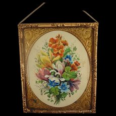 Gilt Metal Framed Floral Picture for Doll House