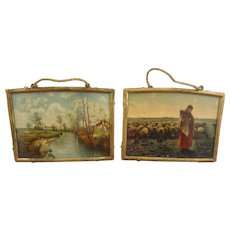 Pair of Miniature Gilt Framed Pictures for Doll House