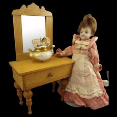 Doll House Dressing Table with Mirror and Flowers in Vase