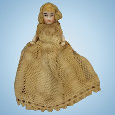 Tiny All Bisque Lilliputien in Lace Gown and Bonnet