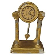 Doll House Shelf Clock in Gilt Soft Metal