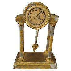 Doll House Shelf Clock in Gilt Soft Metal