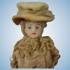"Gorgeous 6"" Bisque Lady in Original Costume with Bouquet"