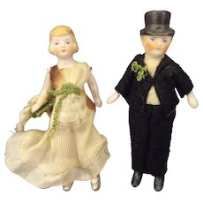 SALE  Pair of Tiny All Bisque Bride and Groom