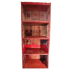 SALE  Rare Dunhams Cocoanut Doll House with Paper Lithography