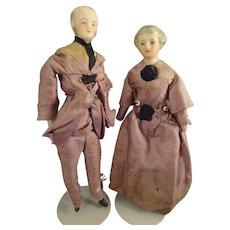 "SALE  Elderly 6"" Doll House Man and Lady in Original Silk Attire"