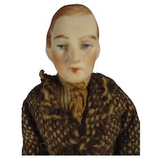 """SALE  5"""" Bisque Doll House Man in Tweed Suit"""