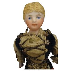 """SALE  Early  6 3/4"""" Bisque Doll in Regional Costume"""