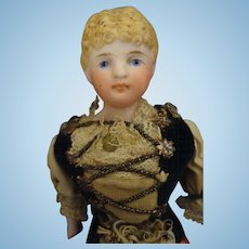 "Early  6 3/4"" Bisque Doll in Regional Costume"