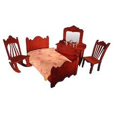German Oak Doll Bedroom Furniture