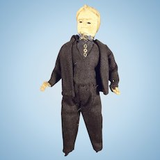 """6"""" Cloth Doll House Man in Black Suit"""